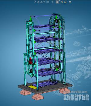 六层垂直循环机械立体停车库模型下载