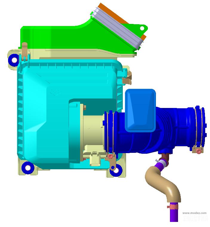 发动机进气系统总成 CATIA设计附stp格式
