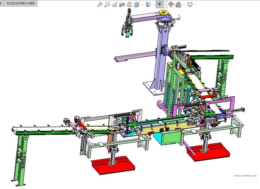 自动化圆环加工生产线3D数模图纸 Solidworks设计