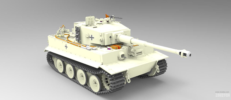 1比35 Panzer-vi-tiger虎式坦克模型3D图纸 STEP格式